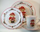 Tienshan THEODORE BEAR'S CHRISTMAS 4 Piece Place setting great condition