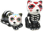 Day of the Dead Cat Kitten Skeleton Salt Pepper Shakers Black White Red Heart