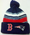 Patriots/Boston Red Sox HEAT Applied Applique on POM Beanie Knit Cap hat!2 logos