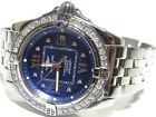 Breitling Windrider Cockpit Lady's Factory 1ct Bezel W/Diamond Blue Dial A71356