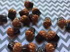 8pc Chocoate Cupcakes Miniature resin Cabochon charm jewelry bow center DIY