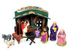 Vintage Nativity Cardboard Creche Stable  Manger w 8 Ceramic Figurines Japan