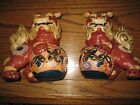 Vintage Pottery  Foo Dog Guardian Lion Beast Moriage Pair gold trim two