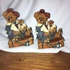 2 Boyd's Bears Journey Begins with Single Step Bailey w Suitcase Figurines 1993