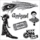 Graphic 45 6 Cling Mount Rubber Stamp Curtain Call 1 Theater movie ticket Cinema