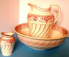 Copeland Late Spode Antique c.1891 Pink Transferware Large Pitcher Bowl Vase Set
