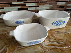 3 Vintage Corning Ware Blue Medallion 1.75 cup / 1.5 Qt / 8x8 Casserole USA