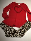 Crazy 8  Gymboree VALENTINES Outfit Red tunic sweater  Cheetah Leggings 5 6 6