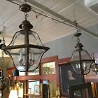 Pair of Vintage Brass Glass Five Light Six Panel Lantern Ceiling Light Fixtures