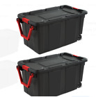 2 Pack Plastic Storage Tote with Wheels Box Durable Large Stacking Container Bin
