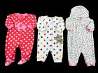 Infant Baby Girl Clothes Size 0 3 Months Warm Fleece One Piece Sleepers Lot Set