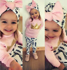 US Stock Cute Newborn Toddler Baby Girls Tops T shirt Pants Clothes Outfits 3Pcs