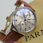 43mm parnis silver white dial power reserve Seagull automatic mens watch in USA