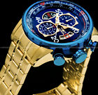 Invicta Mens Aviator Chronograph 18K Gold Plated Blue Dial Stainless Tachy Watch