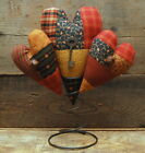 HANDMADE PRIMITIVE PATCHWORK HEARTS RUSTY SPRING VALENTINES DAY AMERICANA NODDER