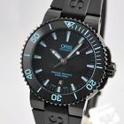 NEW ORIS Aquis Date Automatic Steel Black Blue 43mm Rubber 733 7653 4725 RS