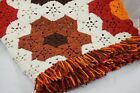 Vintage Hand Crochet Afghan Blanket Throw Glamping Hexagon Granny Squares 40x75