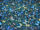 3 Yards Quilt Cotton Fabric Timeless Treasures Butterflies on Green Foliage