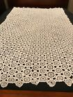 Gorgeous Vintage Hand Crocheted Tablecloth 75 x 48