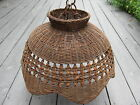Vintage Wicker Lamp Shade Hanging Ceiling Light Fixture Original