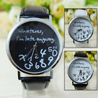 Cool Fashion Women's Men's Whatever I'm Late Anyway Leather Watch Novelty