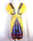 NWOT Anthropologie FLYING TOMATO yellow/blue Tunic Dress Paisley boho stretch S