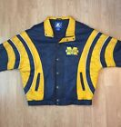University Michigan Wolverines Blue  Gold Mens XL Starter Leather Jacket NCAA