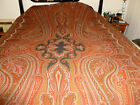 Antique vintage Paisley Wool Cotton Blend Textile Table Bed Piano Cover59 x 124