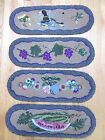 4 VINTAGE HAND HOOKED WOOL STAIR TREADS RUG RUNNER WATERMELON PRIMITIVE COUNTRY