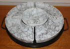 Hazel Atlas Mid Century Modern White Milk Glass Lazy Susan Serving Tray Revolves