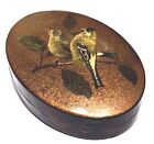 VINTAGE ITALIAN PAINTED LIDDED OVAL LACQUER BOX BIRDS GOLD DETAIL BOARDER DESIGN