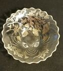 Vintage 10 inch clear and silver trimmed footed  bowl