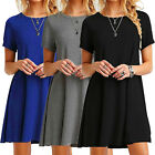 New Women Casual Short Sleeve Solid Loose Tunic Top Shirt Blouse Mini Maxi Dress