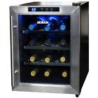Wine Refriger Quiet 12 Bottle Thermoelectric Stainless Steel Door Storage Fridge