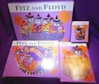 Fitz and Floyd Kitty Witches Boo Bowl Platter Candle Canape BARELY USED 4PC LOT