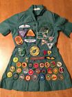 Large Lot Vintage Girl Scout Brownie Badges Patches Pins Dress