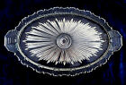 Vintage Art Deco design heavy glass ribbed handle oval serving vanity tray
