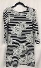 NWT lands end swim cover dress xs 2 4 black white Striped floral