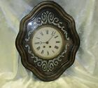 c 1870 French ebonized wall clock with MOP mother of pearl inlay