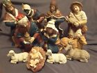 Vintage 1994 Ceramic Holiday CHRISTMAS NATIVITY Set 11 Pieces Large 11 H X 3 W