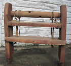 Antique Country Farm Wooden Cheese Press Tool Red Paint Pulley Systems!