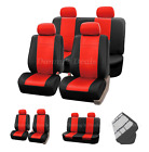 Black Red Leather Car Seat Covers For Fiat Panda 100HP 2006 - 2010