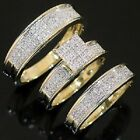 Diamond Trio Set Engagement Ring Wedding Band Yellow Gold His & Hers 2.00 Ct