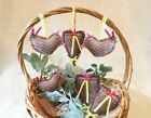 New Handmade Lot Ornies Bowl Fillers Tucks Primitive Hearts Birds Decoupage Set