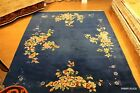 Antique Chinese 8' x 10' ART DECO Garden design pictorial light BLUE color #PM75