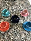 Fiestaware lot Coffee Cups And Saucers poppy,turquoise, cobalt, peacock, pink