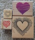 Lot 4 Hearts Wood Mounted Rubber Stamp Posh Imagine That Mail Expressions