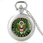 Antique US Army Eagle Pattern Pocket Watch Quartz Movement Necklace Chain Retro