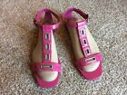 Cole Haan Hot Pink Silver Flats Slide Sandals Women's 9.5 EUC