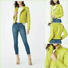 New Lovely Womens Lemon Lime Yellow Short Faux Leather Moto Style L